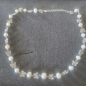 Natural Pearl And Silver Butterfly Necklace